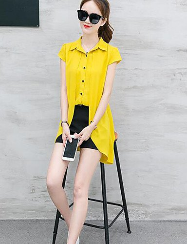 De Xuanku Corta Casual Verano Pantalones Elásticos Mujer Manga Amarillo Para 5wRqC
