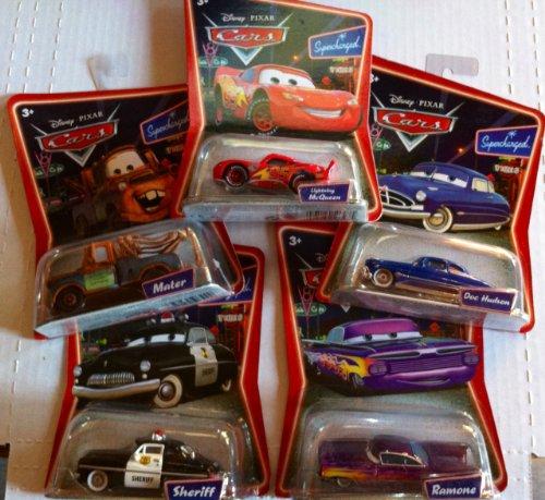 Sheriff Supercharged (Disney Pixar Cars Movie Supercharged Sheriff, Doc Hudson, Ramone, Mater, Lightning)