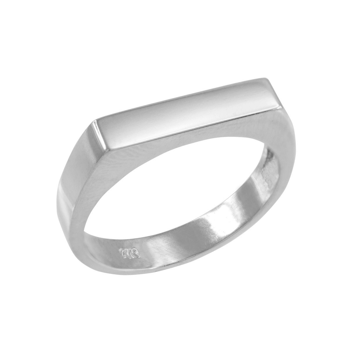 Stackable 10k White Gold Custom Engravable Flat Top Signet Ring (Size 7)