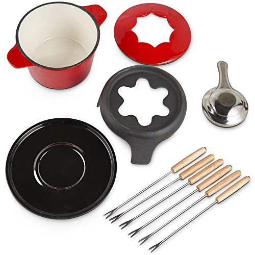 VonShef Fondue Set with 6 Fondue Forks, Stylish Cast Iron Porcelain Enamel Fondue Pot Makes All Styles of Fondue Such as Cheese and Chocolate, 1.6 QT Capacity, Red, 12pc Set by VonShef (Image #3)