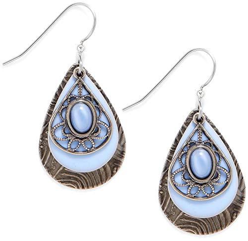 - Silver Forest Surgical Steel Blue Moonstone Filigree Earrings NE-0792B