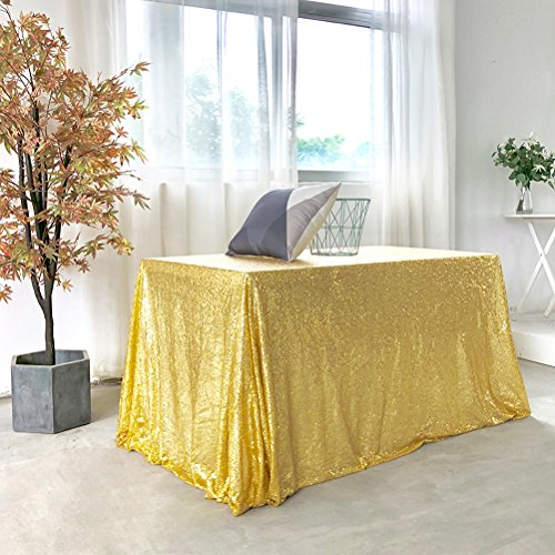 GFCC 70x120'' Gold Sequin Tablecloth Christmas Table Cloth Banquet Cover Wedding Party Christmas Decoration Supplies