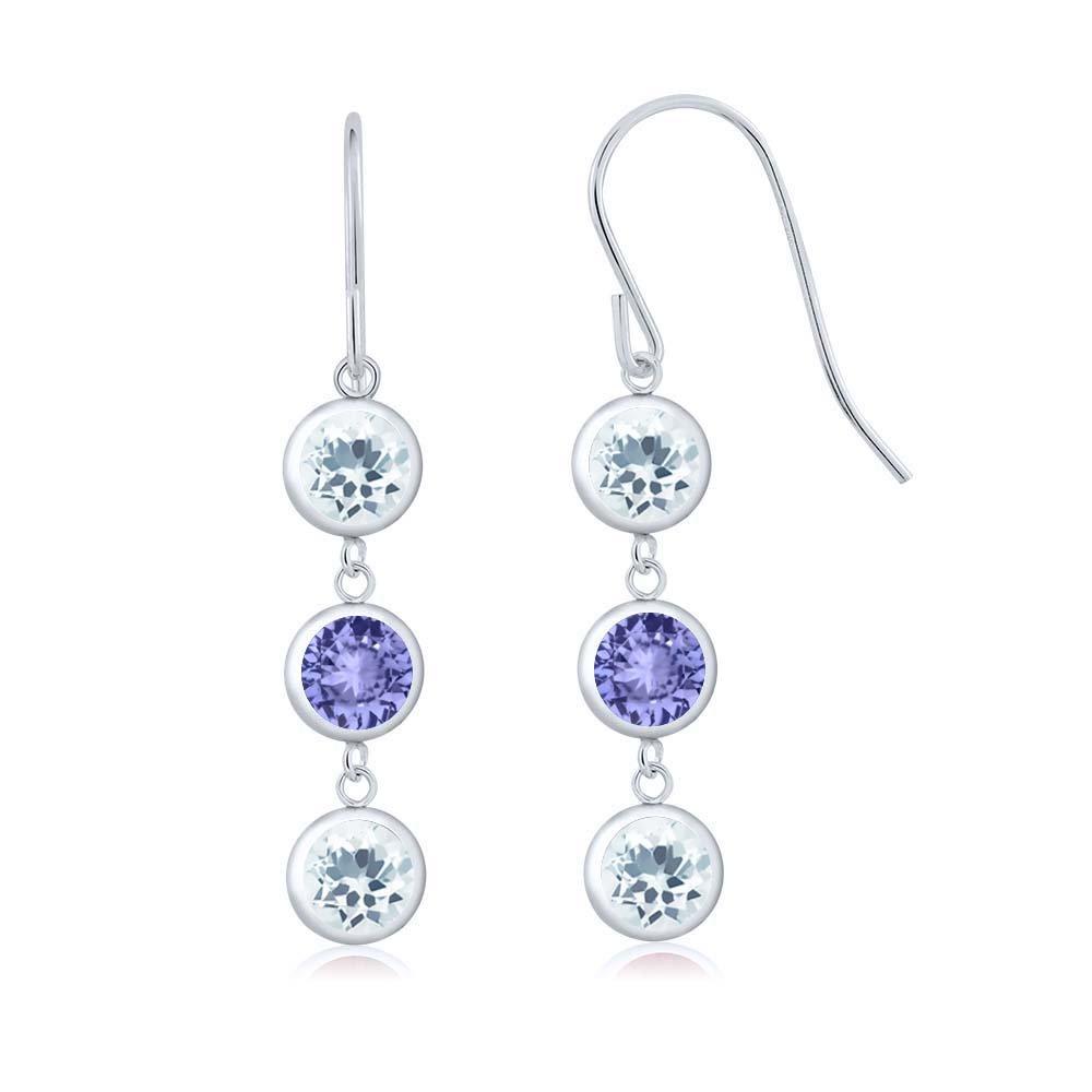 2.52 Ct Round Sky Blue Aquamarine Blue Tanzanite 925 Sterling Silver Three Stone Dangle Earrings