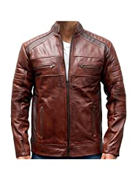 2nd Skin Original Leather, Cafe Racer, Vintage Brown Men's Jacket, Distressed, Waxed