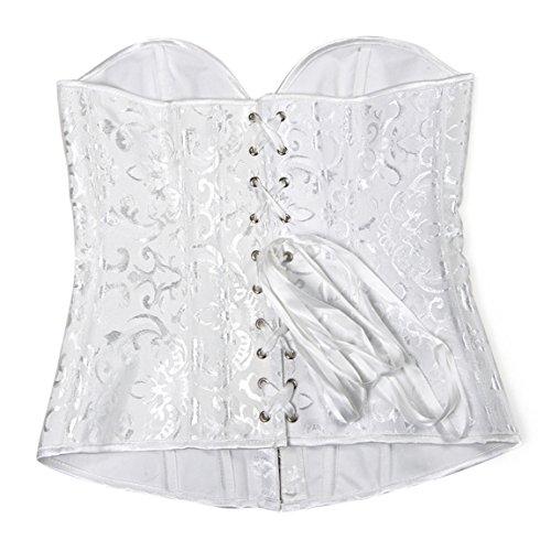 Rosfajiama lencería Moda Corsé Corpiño Sujetador Satén De busto completo Korsage blanco