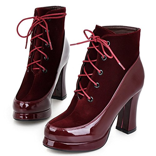 2 Women Red Booties Shoes Wine Up Lace COOLCEPT qzdxYwFa0Y