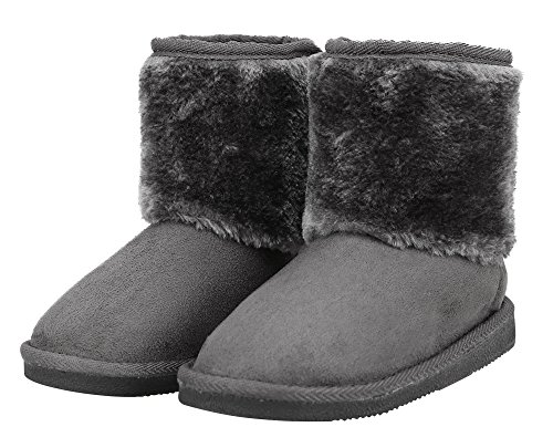 Girls Faux Suede Boots (YoungLove Kids' Sherpa Lined Faux Suede Velcro Winter Boots Charcoal 3 M US Little Kid)