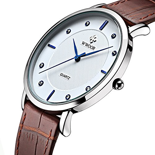 (Tonnier Super Slim Quartz Casual Wristwatch Business Brown Genuine Leather Analog Men's Watch)