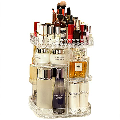 360 Lazy Susan Makeup Organizer, Square Bathroom Shelf Revolving Countertop Tower Display Case Cosmetic Storage Holder, Crystal Clear