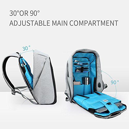 Oscaurt Anti-theft Travel Backpack Business Laptop Book School Bag with USB Charging Port for College Student Work Men & Women