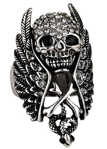 Skull With Wings (Angel Jewelry Women's Crystal Wings Skull W/ Cross Snake Stretch Rings)