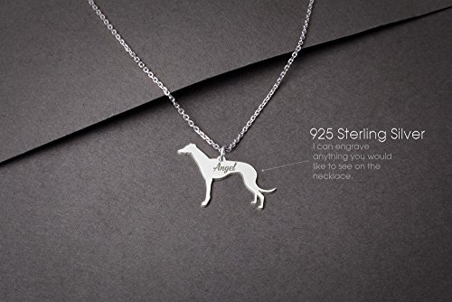 - GREYHOUND Personalised Tiny Silver Necklace - Greyhound Necklace - Gold Dog - 925 Sterling Silver, Gold Plated or Rose Plated