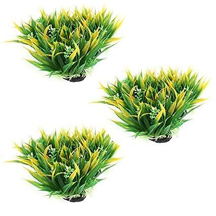 eDealMax Base de cerámica Pecera acuario Artificial planta de la hierba Verde Amarillo 3pcs