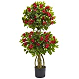 Nearly Natural 4' Double Bougainvillea Artificial Topiary Tree 4, Red