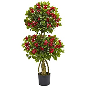 Nearly Natural 4' Double Bougainvillea Artificial Topiary Tree Red 107