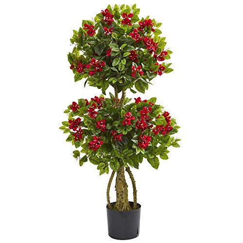 Nearly Natural 4' Double Bougainvillea Artificial Topiary Tree Red
