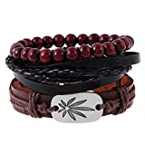 Aoruisier Men's Mixed Beaded Bracelets Adjustable Handmade Multi Strand Braided Bracelets Woven Leather Wristbands