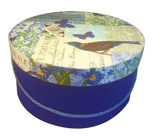 HAT BOX BY L'ARTISANE,(LIMITED) EUROPE IS HERE PARIS WITH BLUE BUTTERFLIES, BIRD, FLOWER PRINTS STANDS OUT WITH RICH BLUE BENGALINE