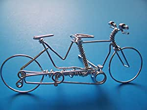 Handcrafted Tandem Bike Ornament ~Mountain Road Bicycle Built For Two ~Dual Bikes Custom Made by One Strand of Wire w/ No Single Break ~ Unique Wedding Cycling Gifts for the Couple, Bride and Groom
