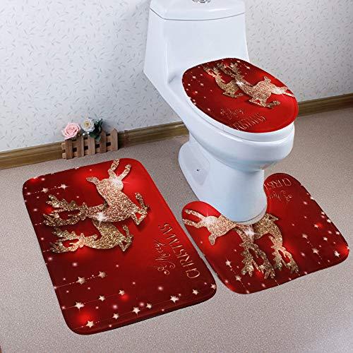 LLguz 3PCS Secure Comfortable Xmas Non-Slip Toilet Seat Cover+Foot Pad+Bath Mat Bathroom Set Christmas Toilet Decor (Multicolor 1) (Decor Xmas)