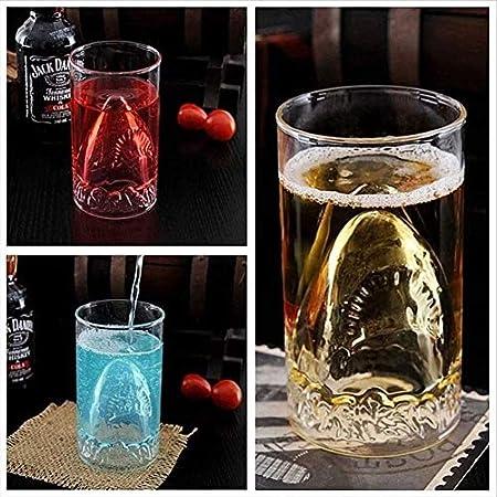 WJJ Botella de Whisky Cristal Conjunto De 2 Gafas De Whisky Premium 350 Ml Cristal De Cristal 3D Relieve De Tiburón Tumblers De Vidrio De Whisky para Escocés Bourbon Cócteles Ron Durable Whisky Gafas