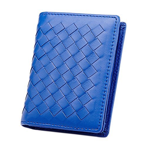 Woven Lambskin Leather Mini Credit Card Case Organizer Compact Wallet by JayTong (Blue) ()