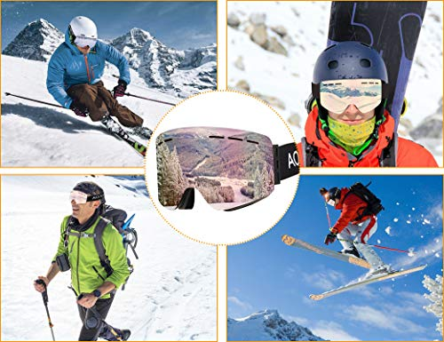 AOKNES Ski Goggles Snowboard OTG fit Over Glasses for All Weather Conditions UV400 Protection Snowboarding Goggles Windproof Anti Glare Snow Goggles for Men Women Youth