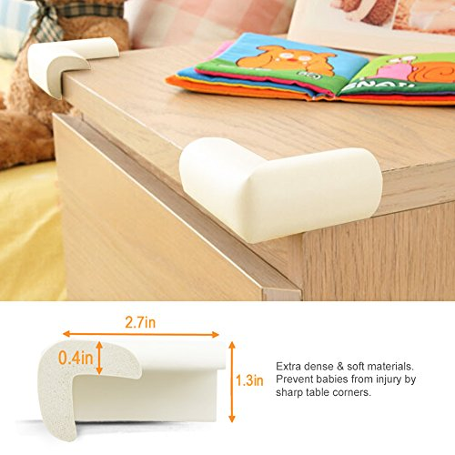 BABY MATE 12 PCS Beige High Density Foam Baby Corner Guards - Table Corner Protectors for Baby Safety Corner Guards Bumpers - Corner Cushion Guards Baby Furniture Safety Bumpers -Corner Protector Baby by Baby Mate (Image #2)
