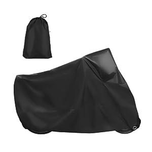 GHB XL Housse de Protection Moto Couverture Imperméable Anti-UV en Polyester 190T pour Moto, Scooter XL 245 x 105 x 125cm - Noir