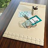 Beige Silver Studded Leather Desk Blotter Pad   Mid Century Modern Office Cream