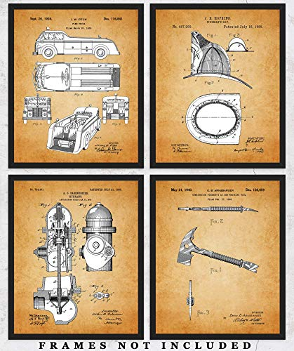 Vintage Fire Fighter Patent Wall Art Prints: Unique Room Decor for Boys, Men, Girls & Women - Set of Four (8x10) Unframed Pictures - Great Gift Idea for Firefighters!]()