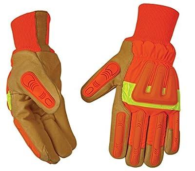 Kinco 1938KWA HI-VIS Orange Lined Grain Pigskin Leather Palm Work Glove with Impact Protection