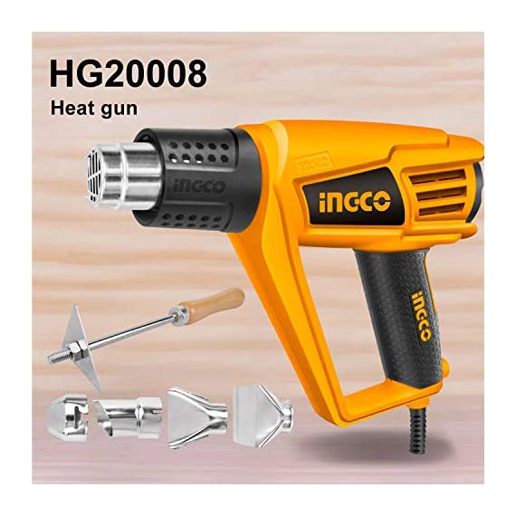 Ingco Plastic Jpt 2000 W Plastic Heat Gun With 6 Accessories, Yellow, Standard Size 2
