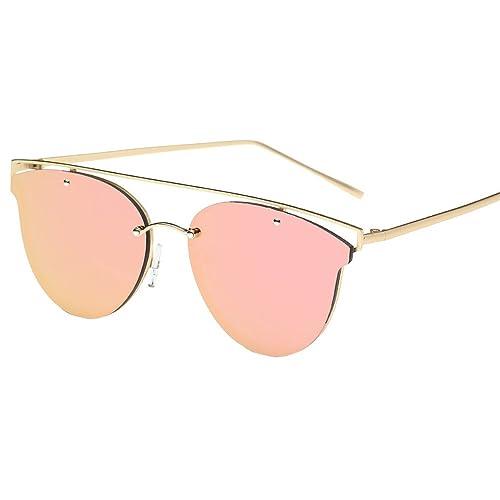 VENMO Las Mujeres Gato Ojo Gafas de sol Marco Metal Tono Clásico Espejo Gafas de sol Moda