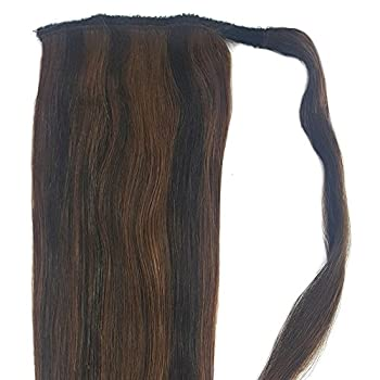 "Human Hair Ponytail Extension Wrap 20"" Real Remy Premium Grade Aaaaa 80 Grams Long Straight Human Hair Silky Soft By Knockout Hair (#0203 Dark Brownmedium Golden Brown Mix) 1"