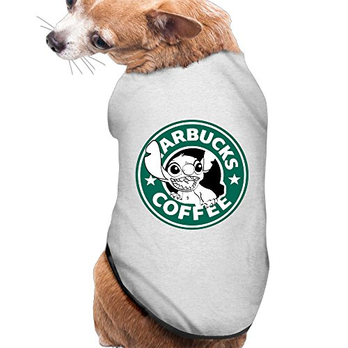 Stitch Starbucks Logo Summer Costumes, Clothing, Shirt, Vest, T-shirt, Puppy Pet Dog Cat Fashion 100% Polyester Fiber Tee Gift For Any Animal Fan Lovers Ash (Lilo And Stitch Costume For Dogs)