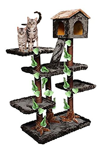 CozyCatFurniture Unique Cat Tower House for Large Cats in Forest Style, Green/Brown