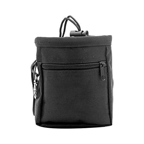 Henweit Dog Treat Pouch Adjustable Belt Nylon Pet Snack Zipper Pocket (Black) -