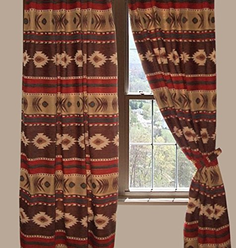 CARSTENS Rustic Western Southwestern Native American Patterns Equestrian Decoration DRAPE CURTAINS SET - 2 panels, each measures 54″x84″ - CIMARRON - Panel Pillow Cowboy