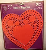 24 Die Cut Red Heart Shaped Paper Doilies