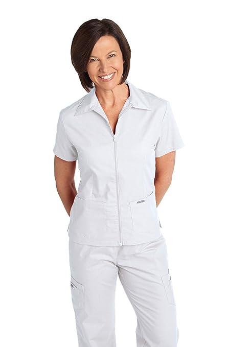 774d034c41c Amazon.com: Mobb Women's Zipper Front Medical Uniform Top with Collar: Work  Utility Shirts: Clothing