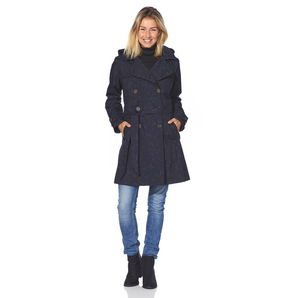 Happy Rainy Days Women's Classic Trench Coat with Removable Hood