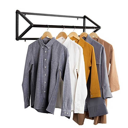 Modern Black Metal Wall-Mounted Retail Boutique Garment Clothing Rod - Rack Garment Wall Mount
