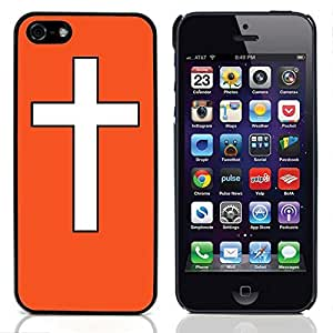 Graphic4You Cross Design Hard Case Cover for Apple iPhone 5 & 5S (Orange)