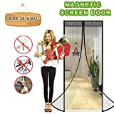 "Magnetic Screen Door Full Frame Magnetic Screen Door with Heavy Duty Mesh Curtain Fits Door Sizes up to 36""x83"" Pet Friendly Bugs Out Screen Door Insect Out Screen Door Mosquito Magnetic Door Screen"