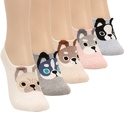 WOWFOOT Women Animal Design No-Show Casual Liner Socks Character Print Non Slip Flat Boat 4 Pair, One Size Fit, 5pair-puppy Ii by WOWFOOT