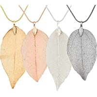 Gejoy 4 Pieces Real Filigree Leaf Jewelry Long Filigree Leaf Necklace Jewelry Set for Women, 4 Colors