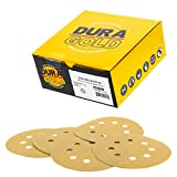 Dura-Gold - Premium - 150 Grit - 5'' Gold Sanding Discs - 8-Hole Dustless Hook and Loop for DA Sander - Box of 50 Finishing Sandpaper Discs for Woodworking or Automotive