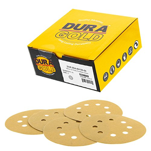 "Dura-Gold - Premium - 150 Grit - 5"" Gold Sanding Discs - 8-Hole Dustless Hook and Loop for DA Sander - Box of 50 Finishing Sandpaper Discs for Woodworking or Automotive"