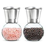 Levav Premium Salt and Pepper Grinder Set of 2- Brushed Stainless Stell Pepper Mill and Salt Mil, Glass Body, Size Grade adjustable ceramic rotor-salt and pepper shakers